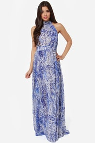 Design of the Times Blue Print Maxi Dress