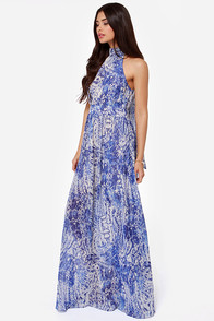 Design of the Times Blue Print Maxi Dress at Lulus.com!