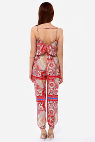 Bustling Bazaar Red Print Jumpsuit at Lulus.com!