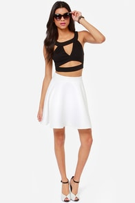 Mind Your Own Business Cutout Black Crop Top at Lulus.com!