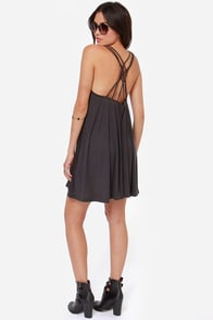 RVCA Magnitude Dark Grey Dress at Lulus.com!