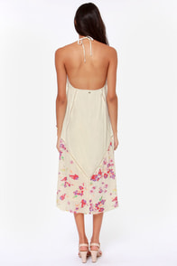 O'Neill Petra Cream Floral Print Halter Dress at Lulus.com!