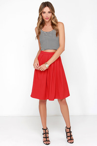 Oh, So Pretty Red Midi Skirt at Lulus.com!
