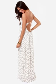 O'Neill Diane Ivory Print Backless Maxi Dress