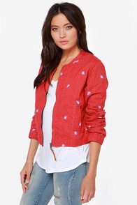 Obey Simone Red Print Jacket at Lulus.com!