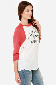 Obey Infamous Rust Red and Ivory Tee at Lulus.com!