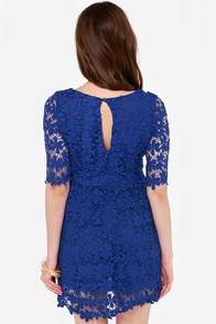 Bloom Service Blue Lace Dress at Lulus.com!