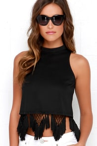 A Tisket, A Tassel Black Fringe Crop Top at Lulus.com!