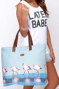 Paradise City Light Blue Flamingo Print Tote at Lulus.com!