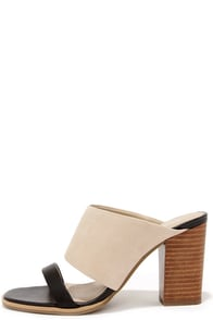 Seychelles Lyra Black and Nude Leather Mules at Lulus.com!