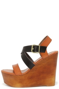 Tone It Up Black and Tan Wedge Sandals at Lulus.com!