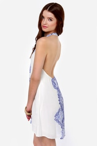O'Neill Journey Blue and Ivory Print Halter Dress at Lulus.com!