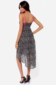 Aryn K Sahara Sweetheart Ivory and Black Print High-Low Dress at Lulus.com!