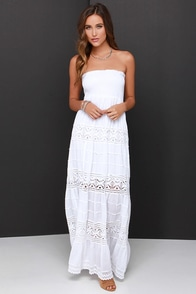 Vacation Migration Ivory Strapless Crochet Maxi Dress at Lulus.com!