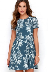 Black Swan Melrose Slate Blue Floral Print Dress at Lulus.com!