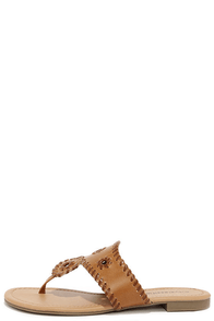 Crack the Whip-Stitch Tan Thong Sandals at Lulus.com!