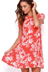 Black Swan Melrose Red Floral Print Dress at Lulus.com!