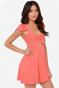 LULUS Exclusive Tie Spell Coral Pink Dress at Lulus.com!
