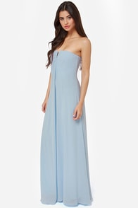 LULUS Exclusive Glide and True Light Blue Strapless Maxi Dress at Lulus.com!