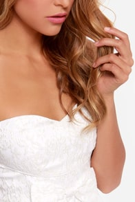 Doll Over Town Strapless Ivory Dress at Lulus.com!