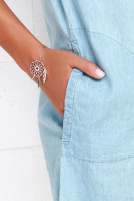 Little Dream of Me Silver Dream Catcher Bracelet at Lulus.com!