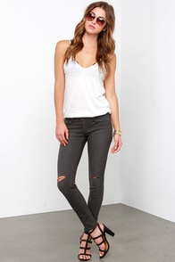 Ever Sparkling Ember Washed Black Distressed Skinny Jeans at Lulus.com!