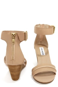 Steve Madden Neliee Bone Leather Ankle Strap Wedges at Lulus.com!