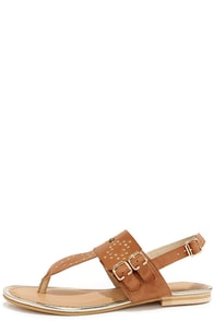 Very Volatile Marisol Tan Leather Studded Thong Sandals at Lulus.com!