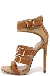 Show and Tall Tan Snakeskin Belted High Heel Sandals at Lulus.com!