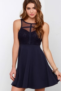 Black Swan Nectar Navy Blue Lace Dress at Lulus.com!