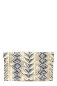 The Last Straw Beige and Blue Envelope Clutch