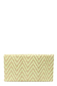 Along the Wave Tan and Mint Green Chevron Clutch at Lulus.com!