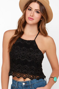 Petals on the Wind Black Lace Crop Top at Lulus.com!