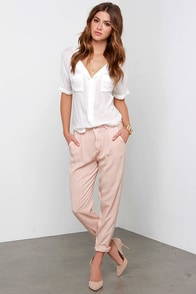Black Swan Oahlia Washed Blush Trouser Pants at Lulus.com!