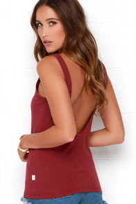 Rhythm Down by the Basic Burgundy Tank Top at Lulus.com!