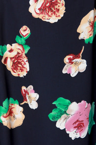 Lucca Couture Fleur Elise Navy Blue Floral Print Dress at Lulus.com!