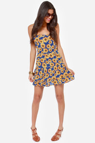 Under the Sunflower Blue Floral Print Babydoll Dress at Lulus.com!