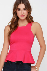 Proper Party Fuchsia Peplum Top at Lulus.com!