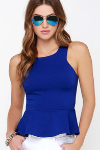 Proper Party Royal Blue Peplum Top at Lulus.com!