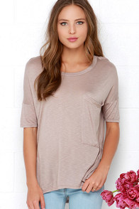 Oversize Me Taupe Tee at Lulus.com!