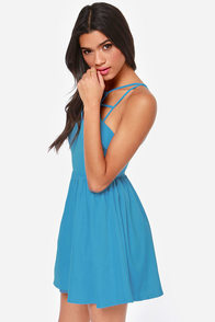 Can't Cage Me Blue Dress at Lulus.com!