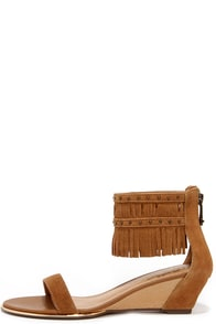 Report Signature Gizmo Tan Suede Leather Fringe Wedges at Lulus.com!