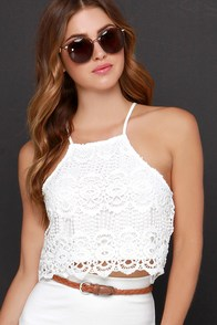 Petals on the Wind Ivory Lace Crop Top at Lulus.com!
