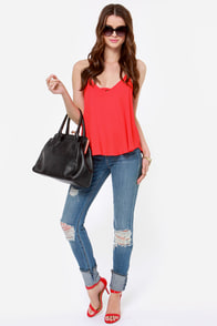 Bridge the Strap Bright Red Tank Top at Lulus.com!