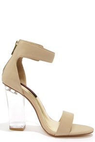 Dollhouse Glass Nude and Lucite High Heel Dress Sandals at Lulus.com!