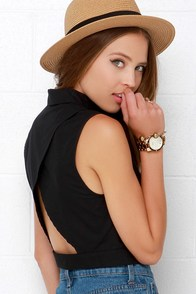 Top That Black Button-Up Crop Top at Lulus.com!
