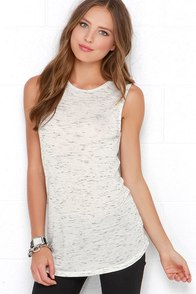 Weekend Love Ivory and Black Marl Knit Top at Lulus.com!