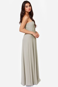 LULUS Exclusive Glide and True Light Grey Strapless Maxi Dress at Lulus.com!