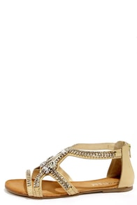 Matisse Glare Natural Jeweled Dress Sandals