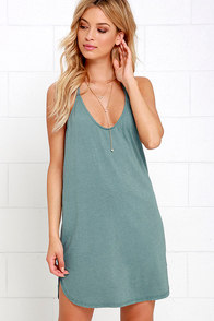Thrilled to Bits Washed Green Dress at Lulus.com!